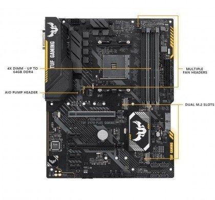 ASUS TUF X470 Plus Gaming AM4 AMD X470 SATA 6Gbs ATX AMD Motherboard TUF X470 Plus Gaming.
