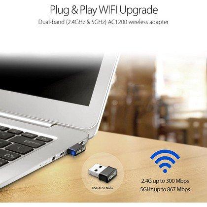 ASUS USB AC53 AC1200 Nano USB Dual Band Wireless Adapter MU Mimo 2