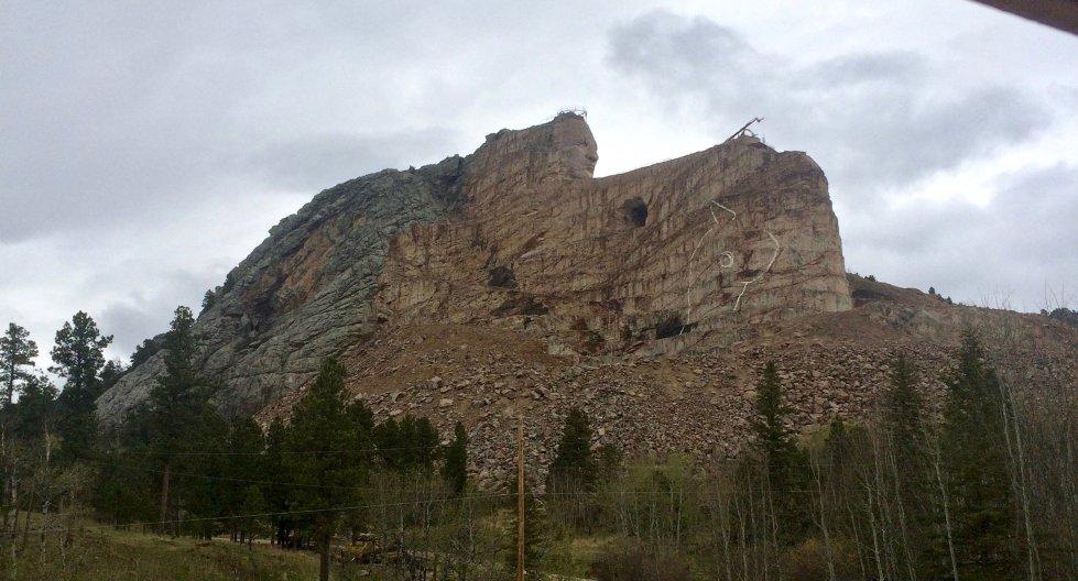 Crazy Horse Memorial mountain carving in progress in 2016