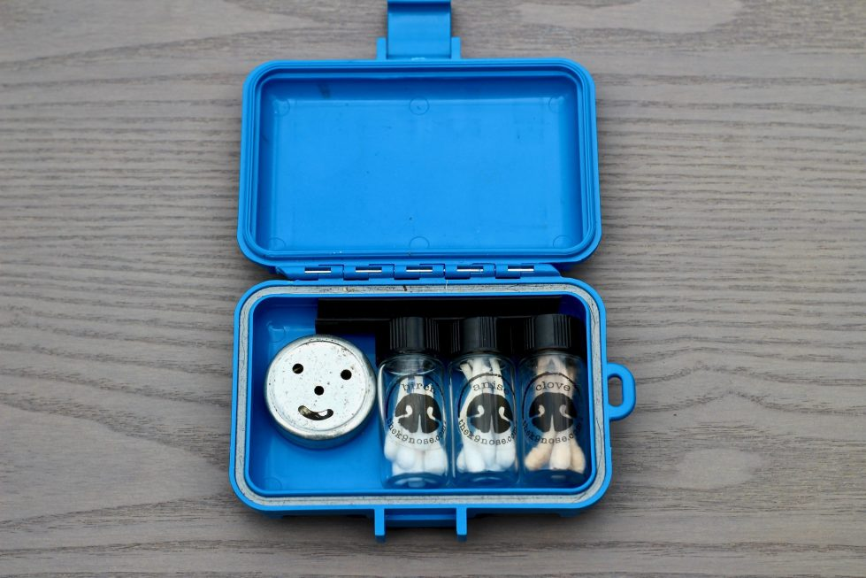 A blue plastic case containing a smile face tin, and three vials of q-tips, over a gray wood surface.