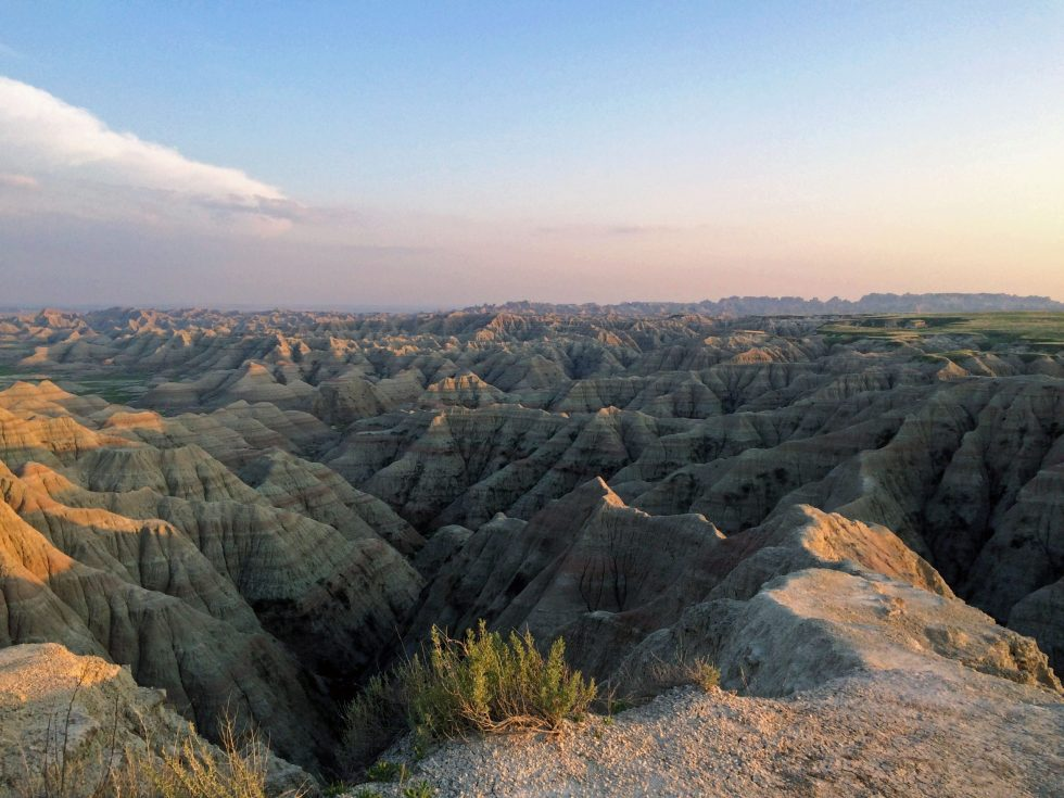 The sunset over the Badlands in South Dakota