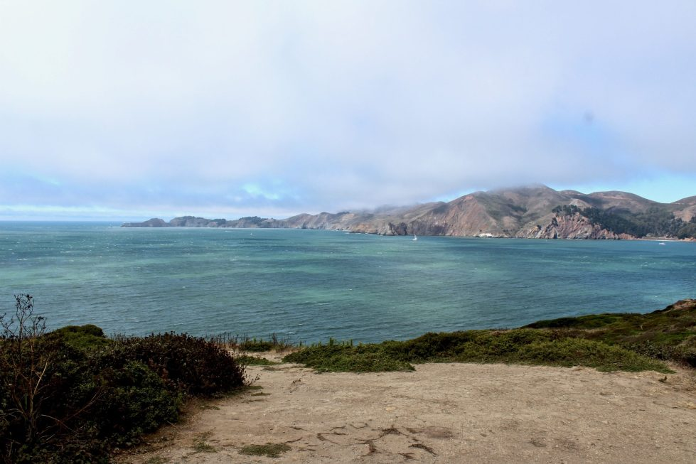 A portion of the San Francisco Bay from an overlook in the Presidio.