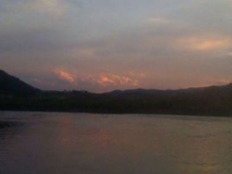 The sun setting on The Deschutes River