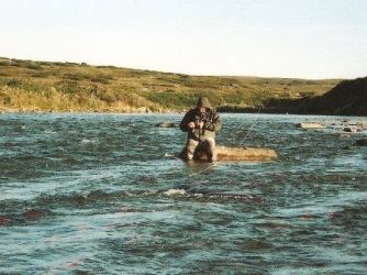 A fly fisherman sitting on a rock in Moraine Creek Alaska