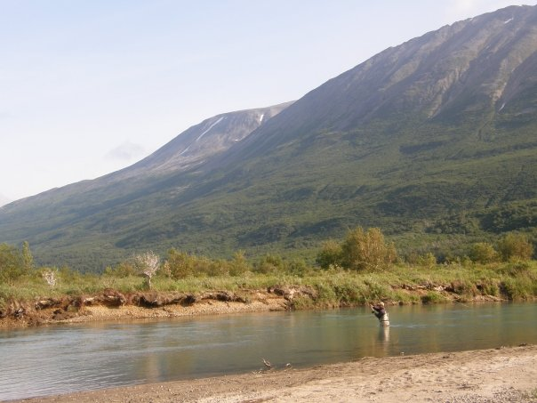 Fly fisherman casting a two handed rod in Alaska