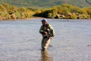 A fly fisherman in Alaska setting the hook, downstream and across the current - I said don't be shy when setting the hook. As a guide I would rather see a wrong hook set than none. But there is a right way to do it and it will improve your fishing dramatically if you aren't already doing it. By simply sweeping your rod tip just off of the surface of the water across the current with authority you will hook more fish.