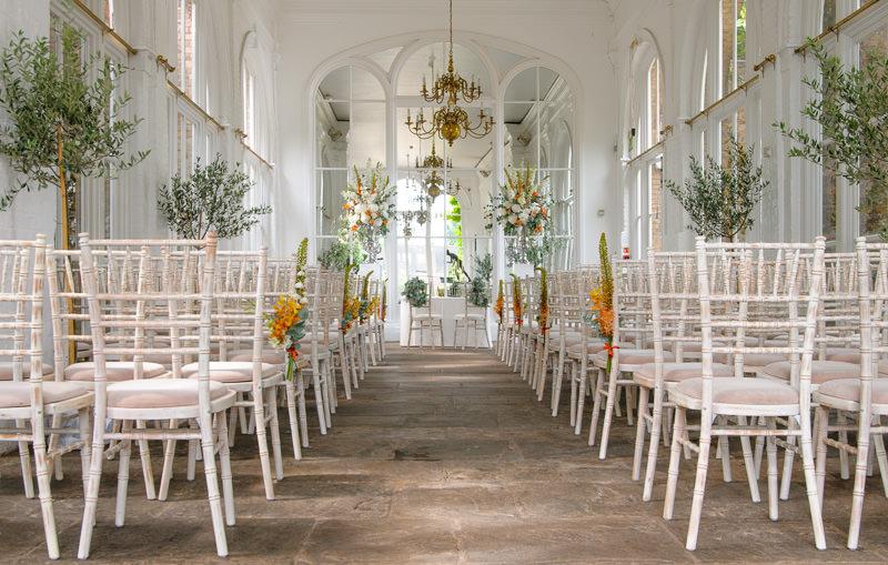 Orangery at holland park set up for a wedding ceremony