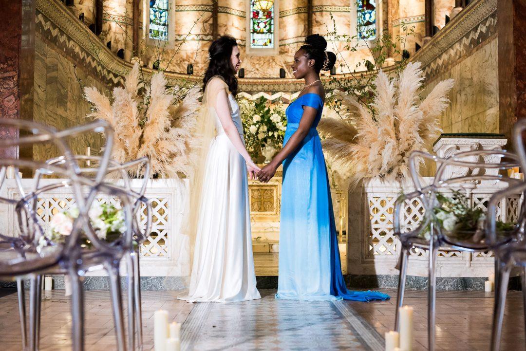 same sex brides at altar Fitzrovia Chapel wedding photoshoot but Always Andri Wedding Design
