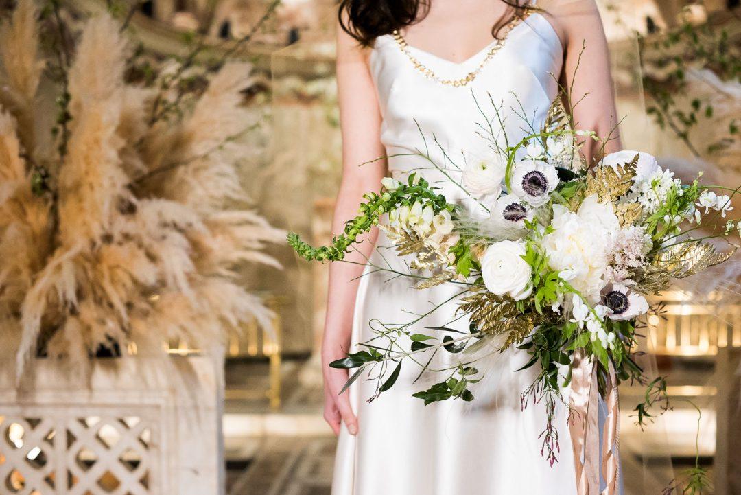 stunning white anenome bouquet Fitzrovia Chapel wedding photoshoot but Always Andri Wedding Design