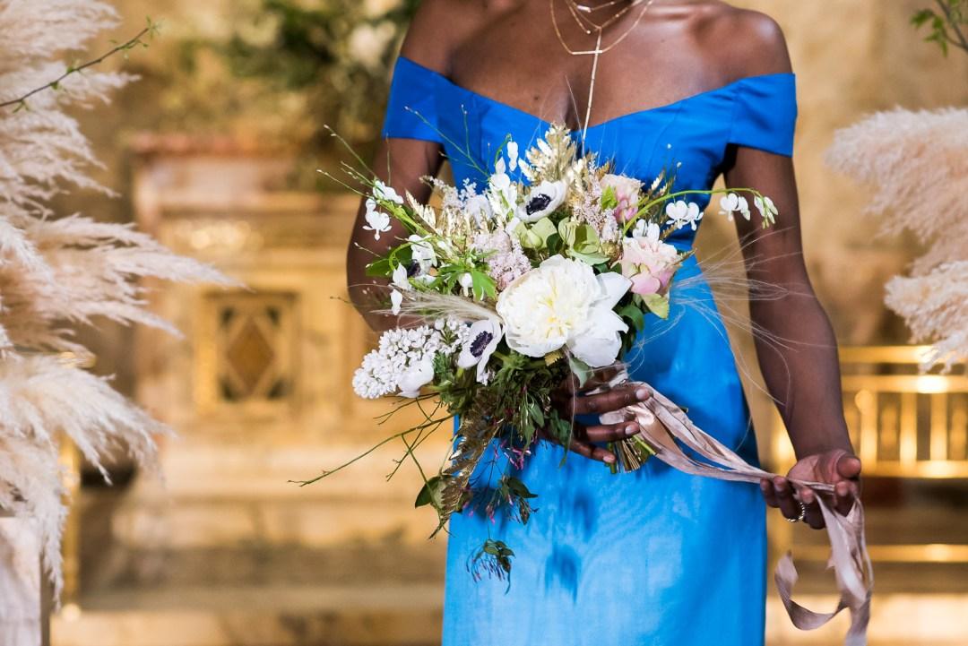 white bouquet bride in blue ombre wedding dress Fitzrovia Chapel wedding photoshoot but Always Andri Wedding Design