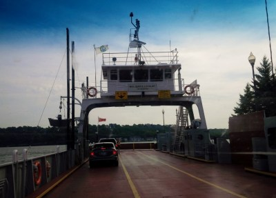 Driving onto the M.V. Quinte Loyalist Ferry