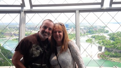 Matt and I on the observation deck of the Skylon Tower
