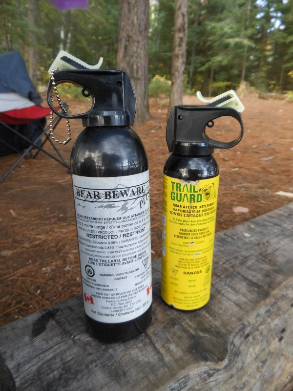 Our two cans of bear spray