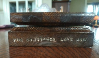 """My husband has made sure middle child will not forget who made the Cribbage Board for her: """"For Constance Love Mom"""" with his stamping tools."""