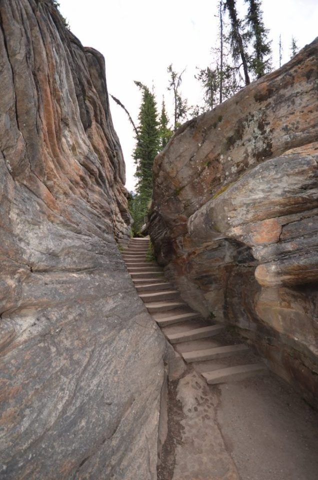 Stairs beside the Athabasca Falls