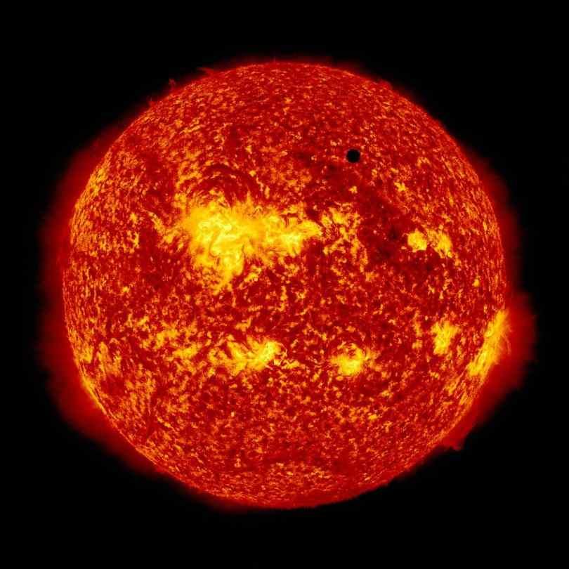 Venus transiting the sun in 2012.
