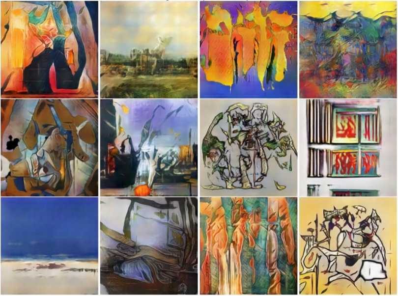 Some of the art pieces generated by Elgammal's Creative Adversarial Network.