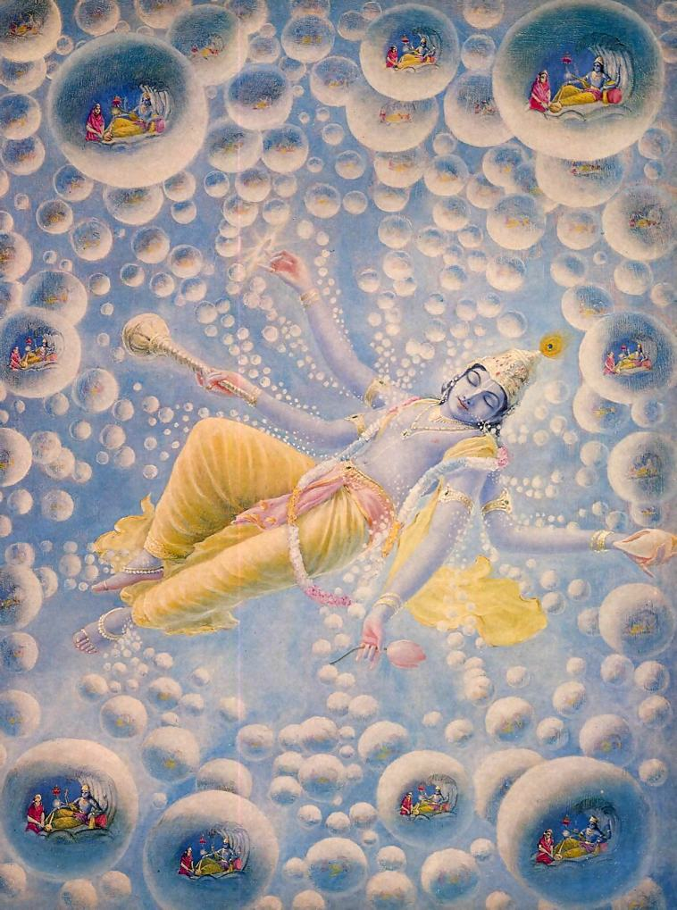 """Mahā-Viṣṇu sleeping in the Causal Ocean emanating millions of universes with each breath. """"Even though over a period of time I might count all the atoms of the universe, I could not count all of My opulences which I manifest within innumerable universes."""" – Bhagavata Purana 11.16.39. Image Credit: Krishna.com"""