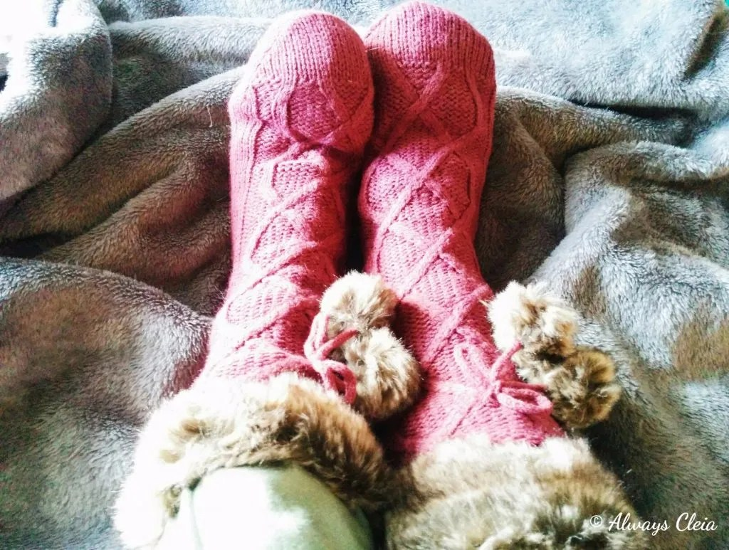 Just Fab Red Fur Pom Pom Socks