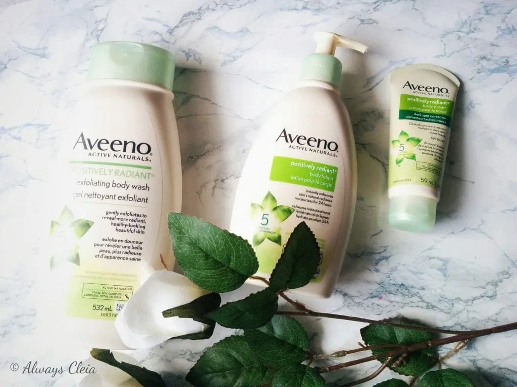 Aveeno Active naturals Positively Radiant Body Care Line