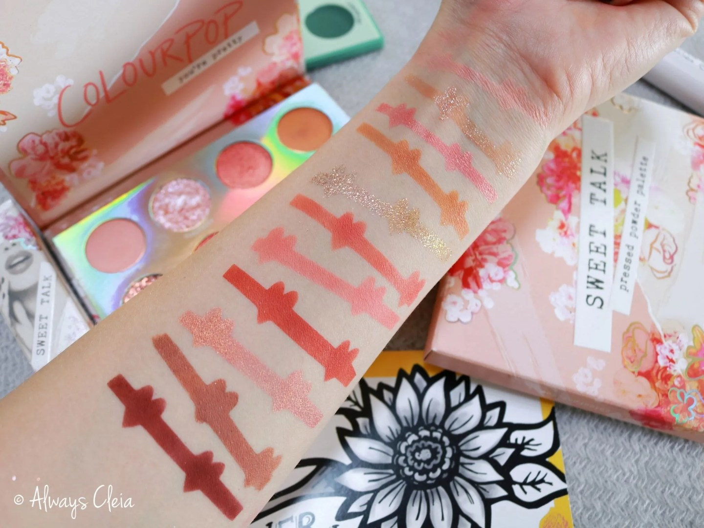 ColourPop Sweet Talk Palette Swatches