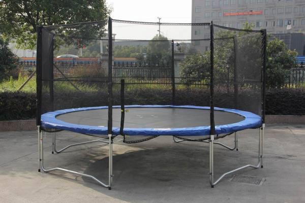 14 Ft Outdoor Trampoline Enclosure Set Safety Net Ladder