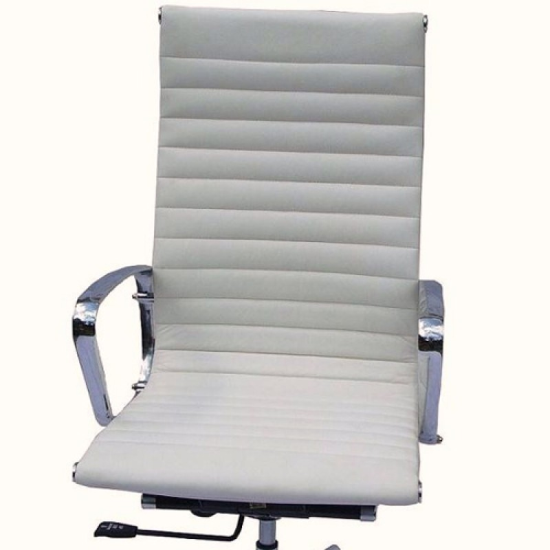 dining chair pad replacement chairs for showers eames high back executive italian leather white with fixed gasket | furniture ...