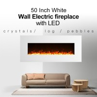 "1500W 50"" White Wall Mounted Electric Fireplace, Heater ..."