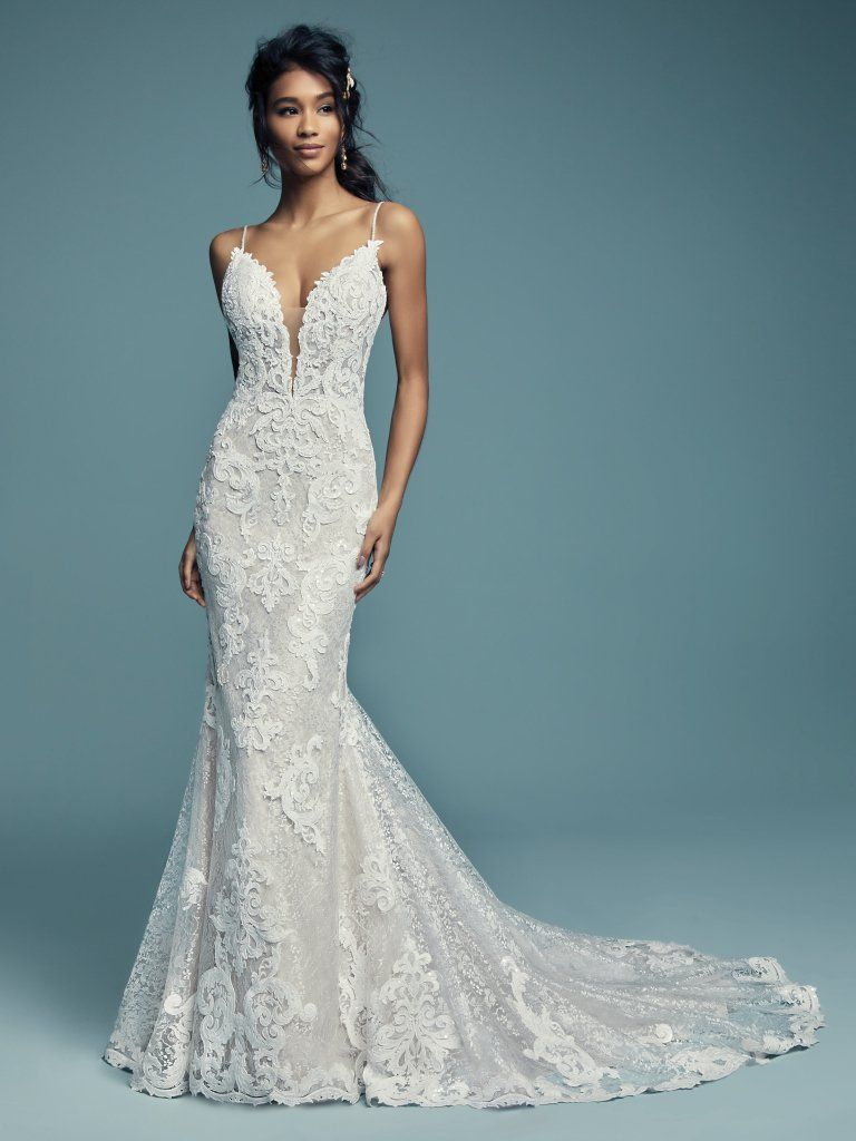76a3077613a31c Style | TUSCANY LYNETTE | Shimmering lace motifs waltz over allover lace in  this romantic sheath wedding dress, comprised of tulle.