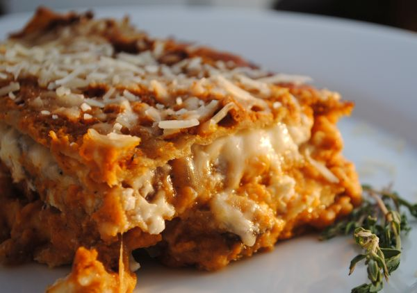 Pumpkin and vanilla flavored lasagna