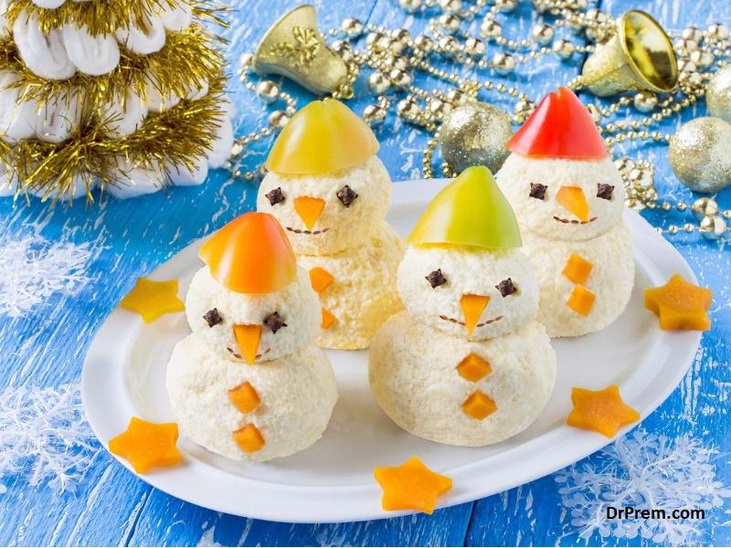 Snowman inspired Cheese Balls