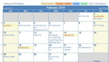March 2019 Calendar With Holidays For US, UK, Canada, India