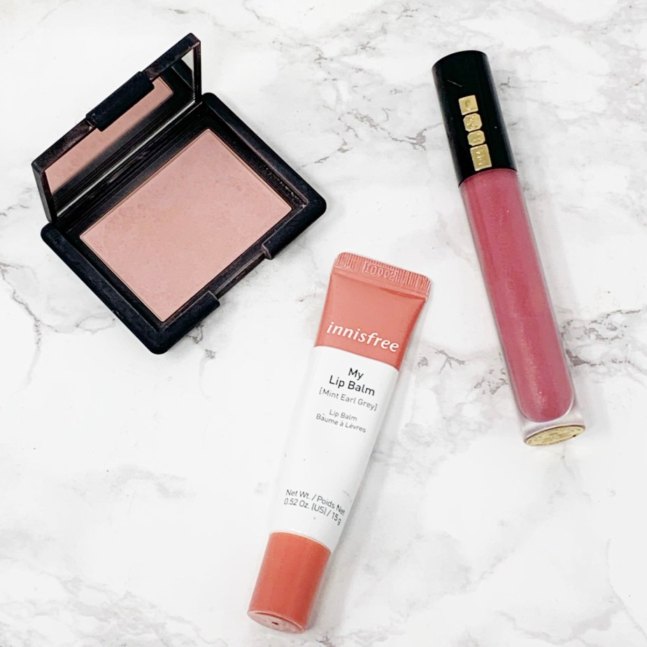 Makeup Necessities - All the basics you need in your makeup bag. - Blush and lips. Nars Blush, Pat McGrath Lust Gloss, Innisfree Lip Balm