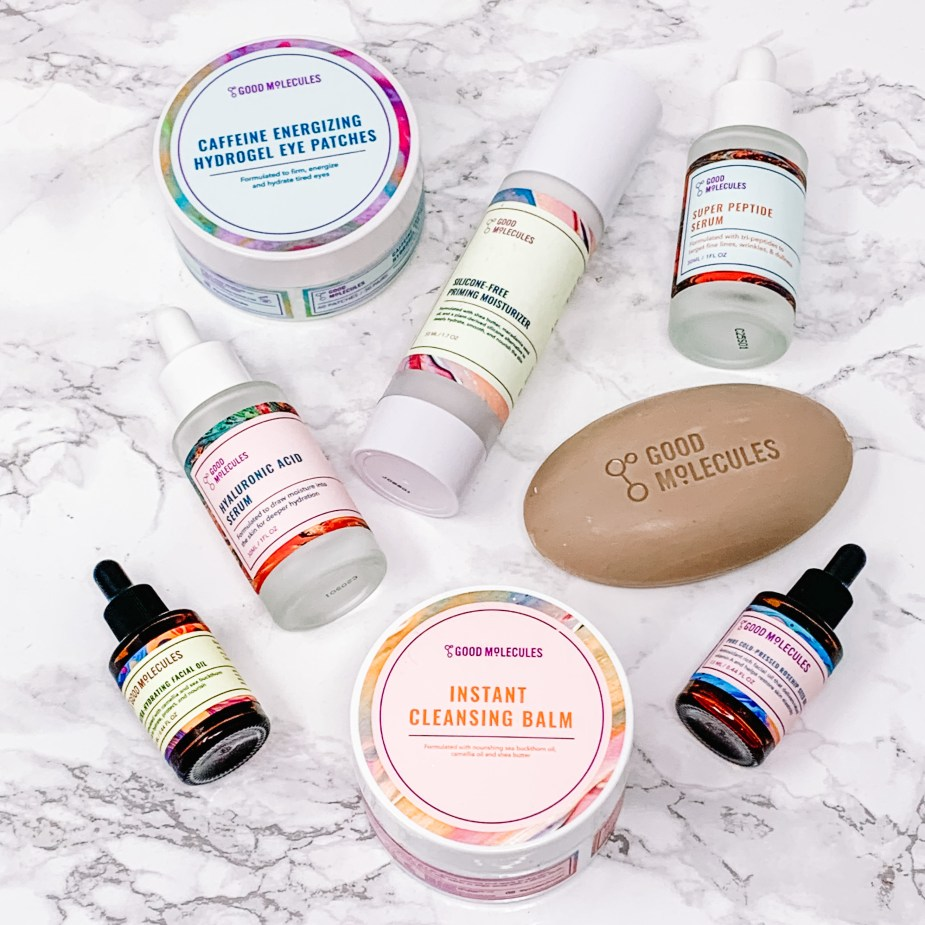 Good Molecules Skincare Review - Caffeine Energizing Hydrogel Eye Patches, Silicone Free Moisturizing Primer, Super Peptide Serum, Clarify & Cleanse Bar, Hyaluronic Acid Serum, Instant Cleansing Balm, Ultra-Hydrating Facial Oil, and Pure Cold Pressed Rosehip Seed Oil.