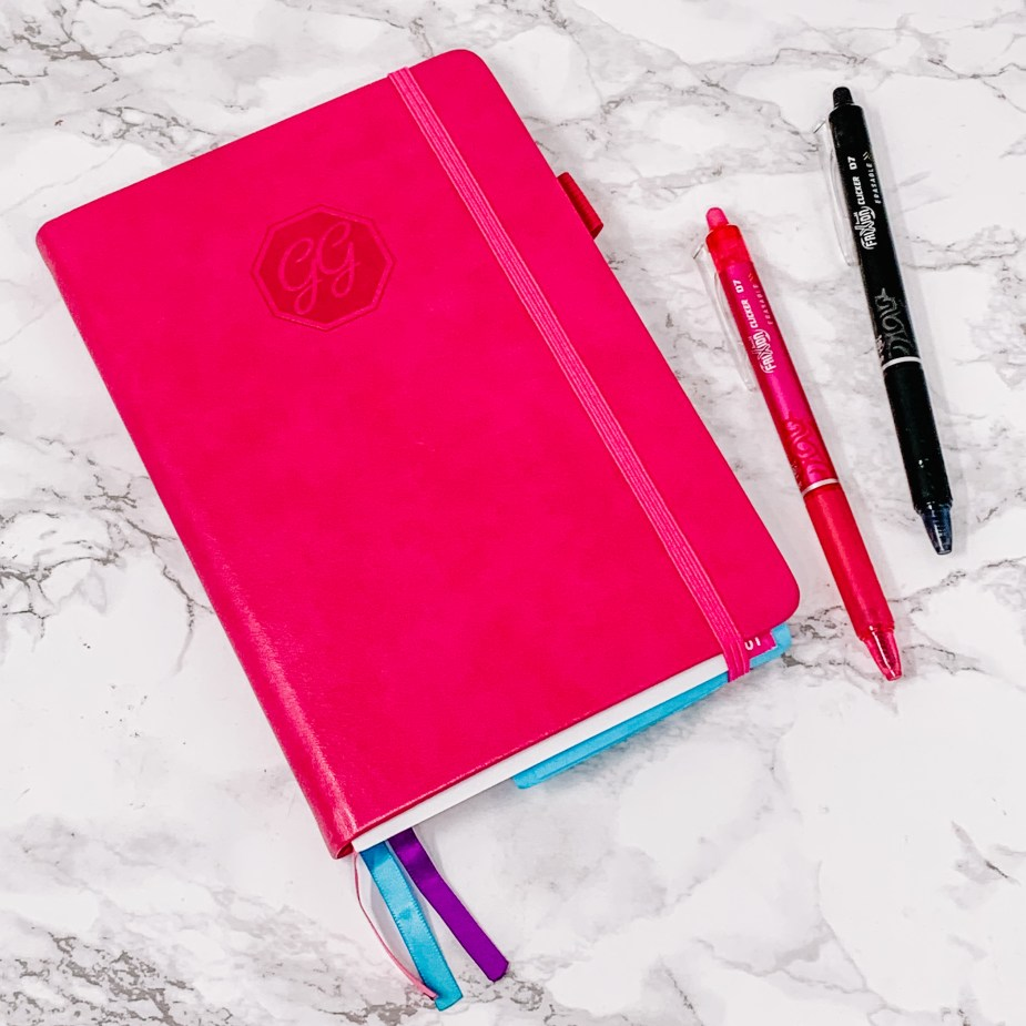 hot pink gogirl planner and frixion pens