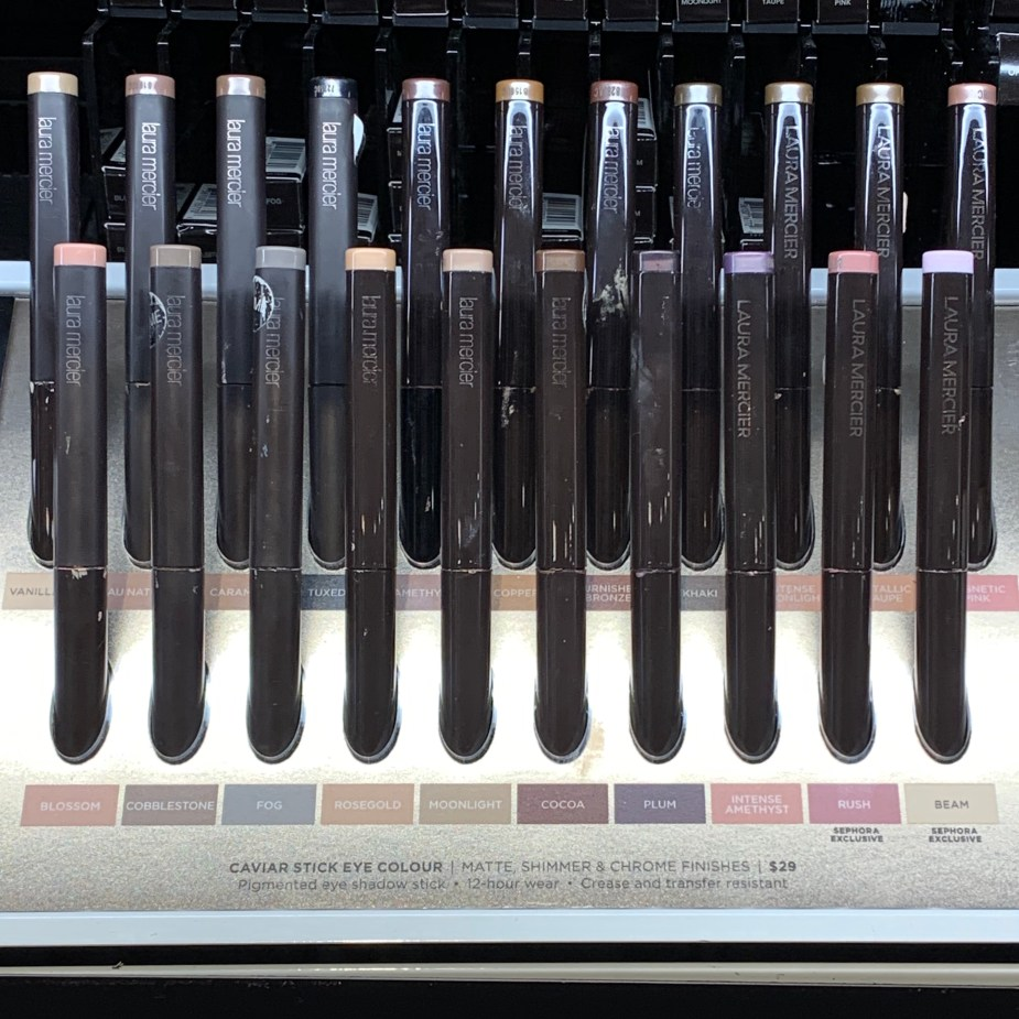 Laura Mercier Caviar Stick Review - Blossom, Cobblestone, Fog, Rose Gold, Moonstone, Cocoa, Plum, Intense Amethyst, Rush, Beam, Vanilla, Au Natural, Caramel, Tuxedo, Amethyst, Copper, Burnished Bronze, Khaki, Intense Moonlight, Metallic Taupe, Magnetic Pink