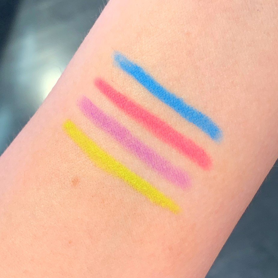 Urban Decay Neon Eyeliner Review - 24/7 Glide On Eye Pencil Swatches - Wired Collection - Jolt, Shock, Amped, Vivid