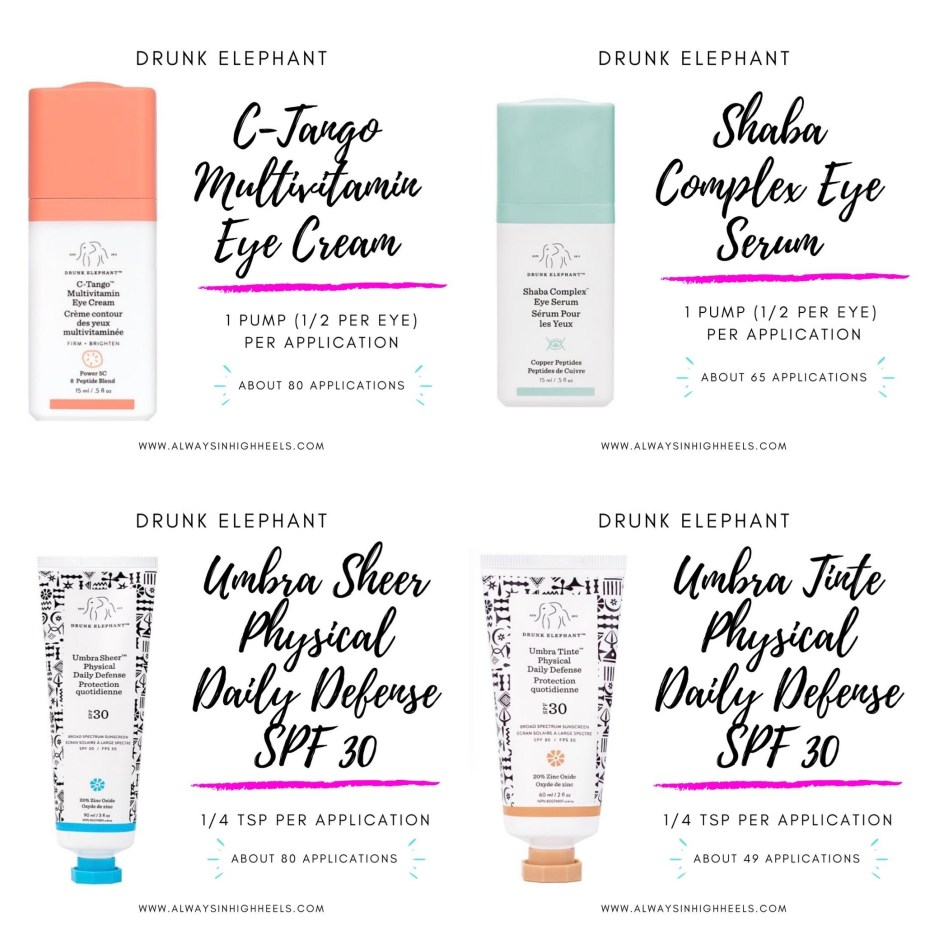 How Long Do Drunk Elephant Products Last? How long do Drunk Elephant eye creams and sunscreens last? Shaba Complex Eye Serum, C-Tango Multivitamin Eye Cream, Umbra Sheer Physical Daily Defense SPF 30, Umbra Tinte Physical Daily Defense SPF 30