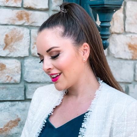 Girl in tweed blazer