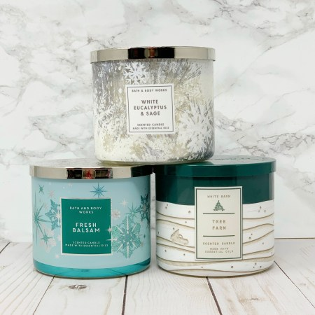 Best Bath And Body Works Holiday Christmas Candle Scents - Fresh Balsam, Christmas Tree Farm, White Eucalyptus & Sage