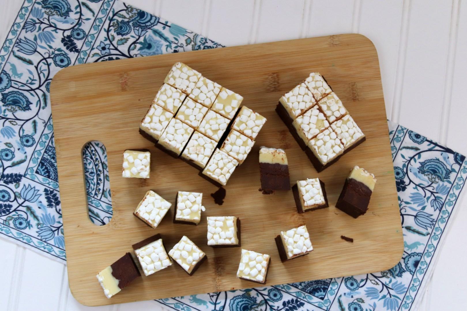 No Bake Hot Cocoa Eggnog Fudge with Marshmallows | AlwaysMovingMommy.com