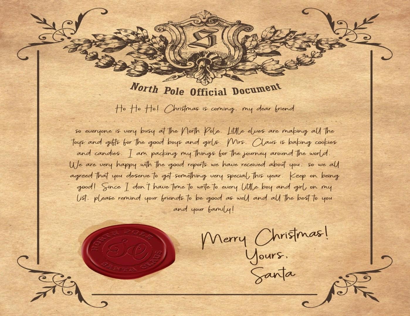 Free Letter from Santa | AlwaysMovingMommy.com
