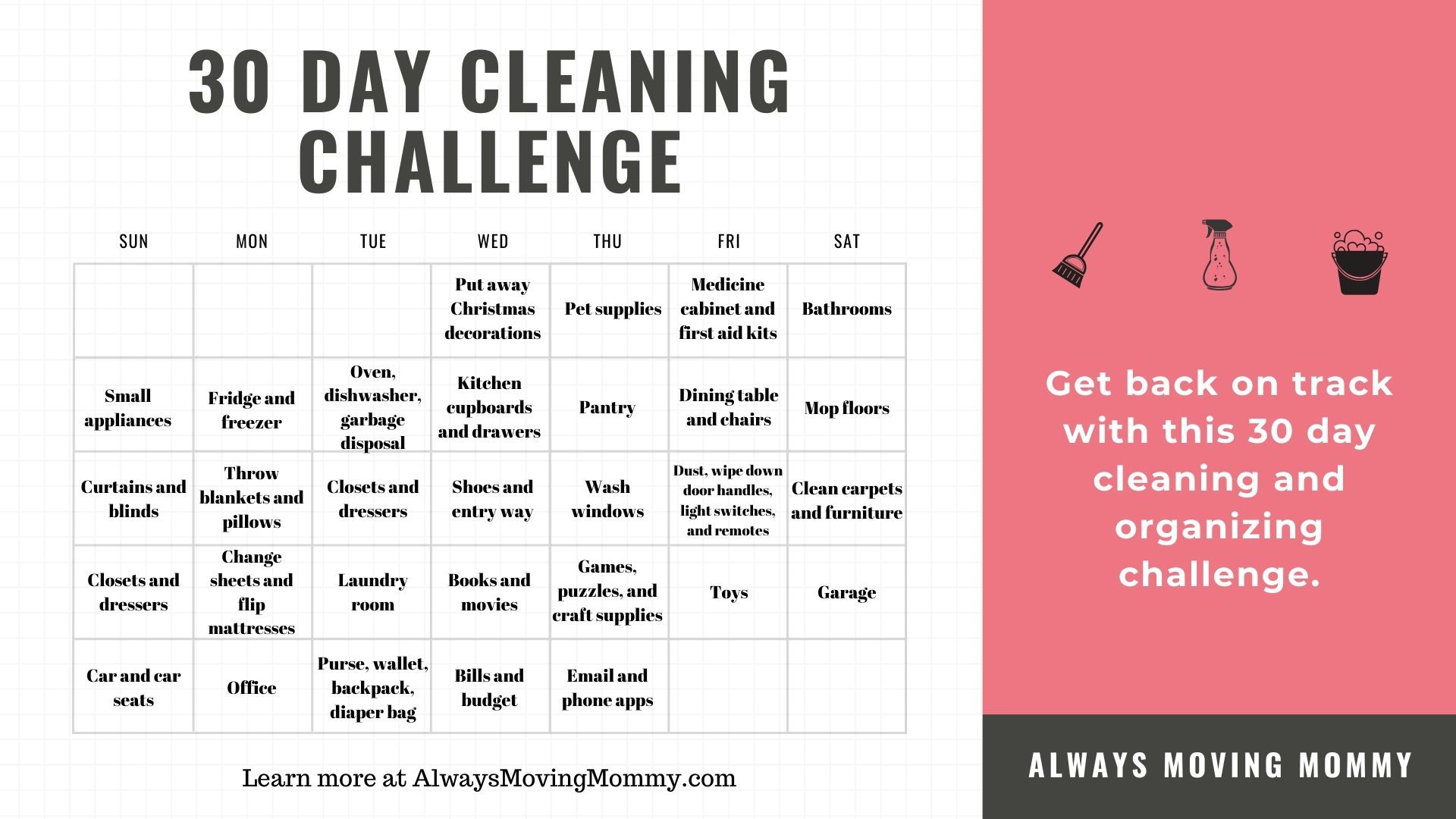 30 Day Cleaning Challenge | AlwaysMovingMommy.com