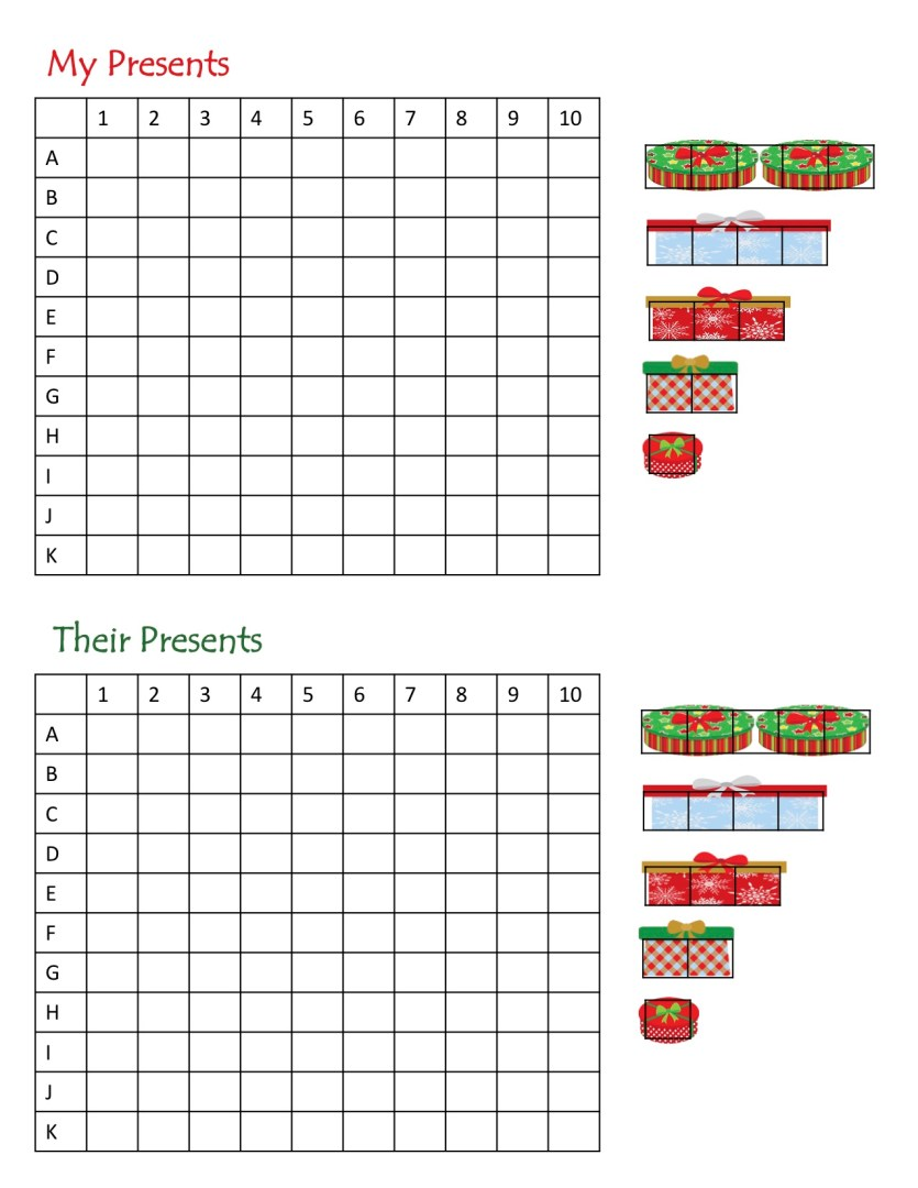Free Printable Find Santa's Presents Christmas Battleship Game | AlwaysMovingMommy.com
