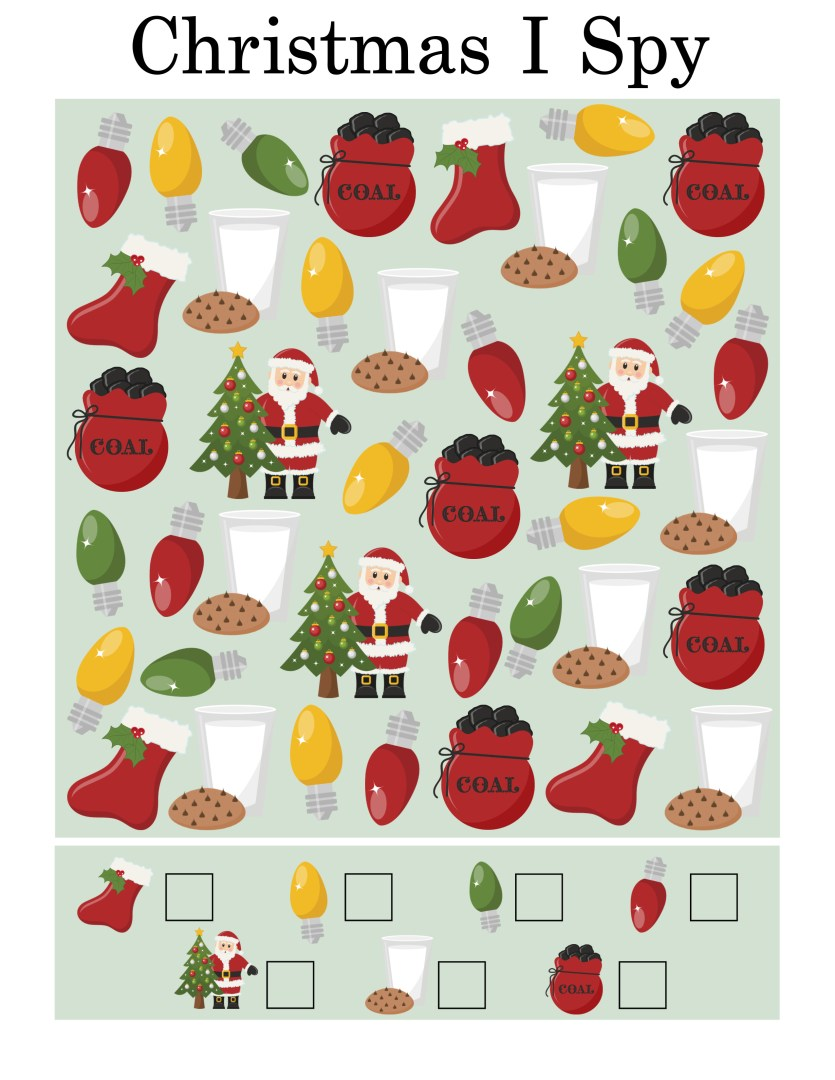 Free Printable Christmas I Spy Game | AlwaysMovingMommy.com