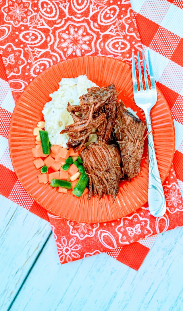 Slow Cooker Pot Roast Mississippi Style on Plate