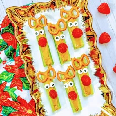 How to Make Celery Stick Reindeer Treats