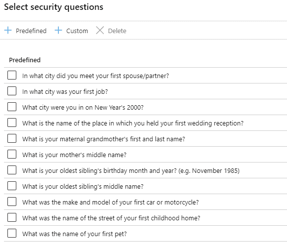 Office 365 Password Reset Security Questions