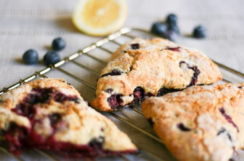 Blueberry scones made with cream, pistachios and lemon zest.