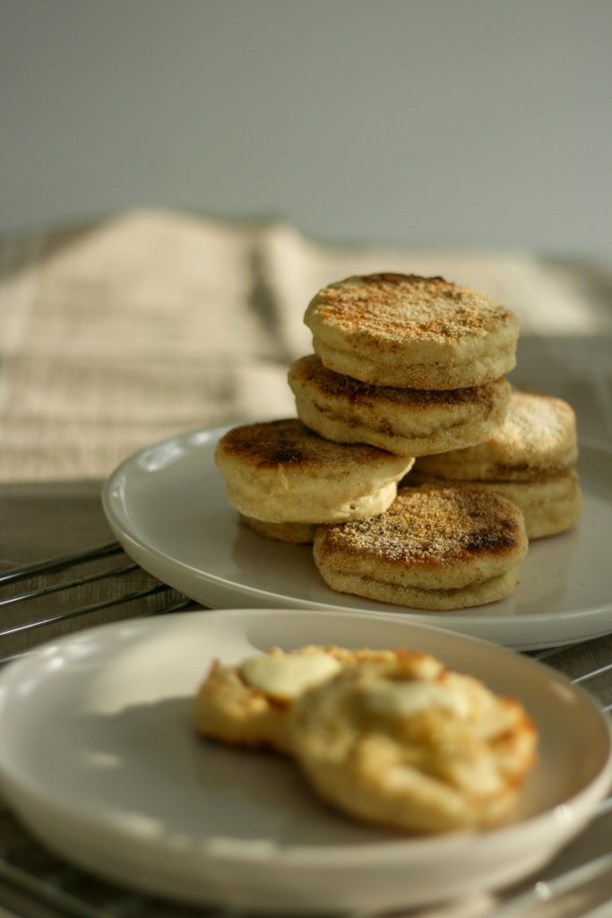 Homemade english muffins toasted with butter